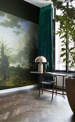 Fototapete tropische Landschaft Grün, Blau und Senfgrün