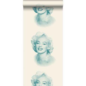 Tapete Marilyn Monroe Weiß und Türkis