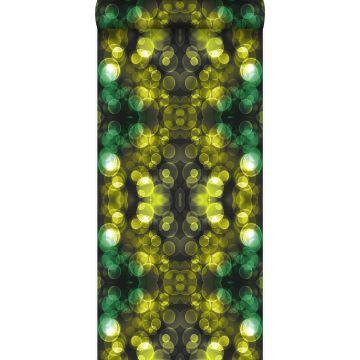 Tapete Kaleidoskopmuster Gelb und Grün