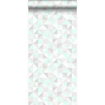 Tapete Dreiecke Pastell Mintgrün, Hellgrau, Weiß und Smaragdgrün