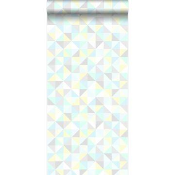 Tapete Dreiecke Pastell Mintgrün, Pastellgelb, Pastellblau, Hellgrau und Silbergrau