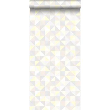 Tapete Dreiecke Crème-Beige, Hellgrau, Pastellgelb und Hellbeige