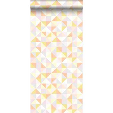 Tapete Dreiecke Puderrosa, Pfirsichorange, Pastellgelb, Hellgrau und Gold