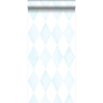 Tapete Karomuster Pastellblau und Weiß