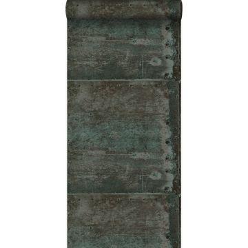 Tapete große verwitterte rostige Metallplatten Braun und Petrolblau
