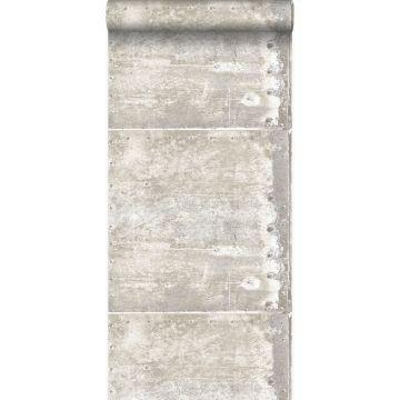 Tapete große verwitterte rostige Metallplatten Crême-Weiß