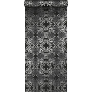 Tapete grafische Form Schwarz und Silber