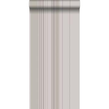 Tapete Streifen Taupe und Grau