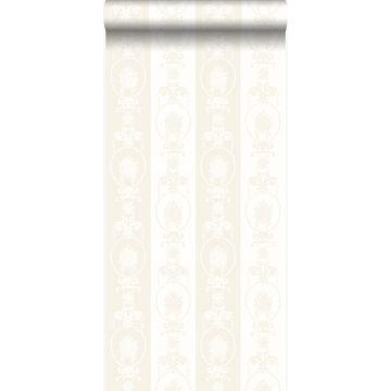 Tapete Ornamente Silber und Weiß