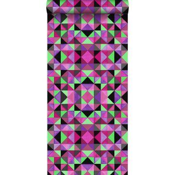 Tapete kubistisches Muster Rosa und Grün