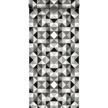 Tapete kubistisches Muster Schwarz und Weiß