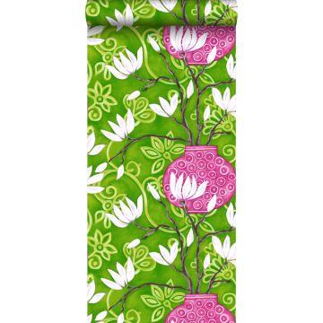 Tapete Magnolie Grün und Rosa