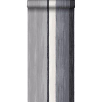 Tapete Streifen Schwarz und Grau