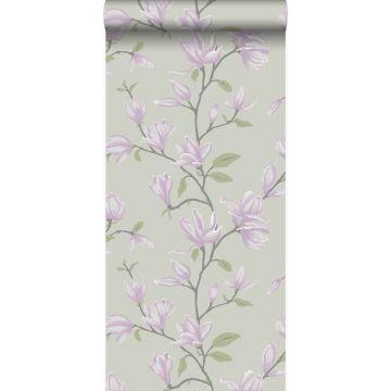 Tapete Magnolie Meeresgrün und Violett