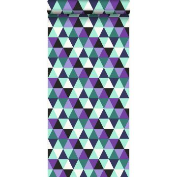 Tapete grafische Dreiecke Lila und Hellazurblau