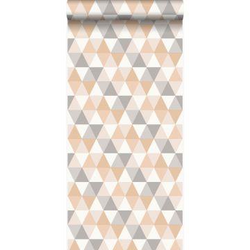 Tapete grafische Dreiecke Beige