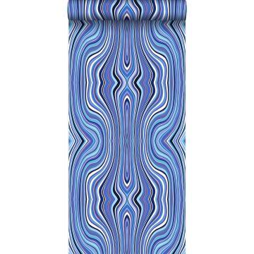 Tapete grafischen Linien Blau und Türkis