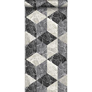 Tapete 3D Marmor Motiv Schwarz und Grau
