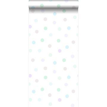 Tapete Punktmuster Pastellviolett, Pastell Mintgrün, Silbergrau und Pastellblau