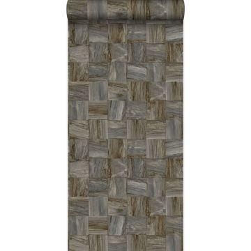 Eco Texture Vliestapete quadratische Holzstücke Dunkelbraun