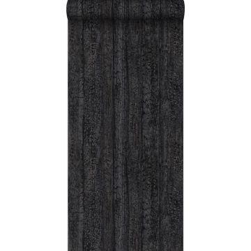 Tapete Holz-optik Schwarz