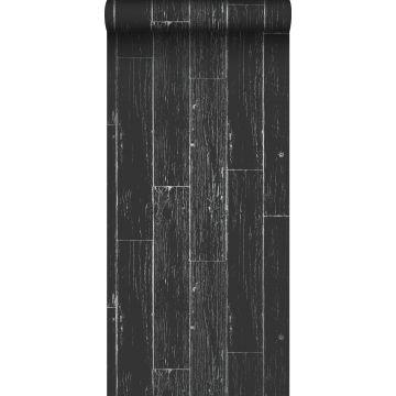Tapete Holz-optik Schwarz und Silber