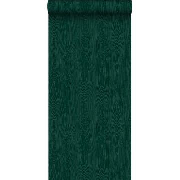 Tapete Holz-Optik Smaragdgrün