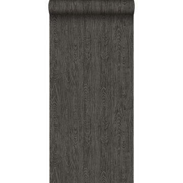 Tapete Holz-Optik Dunkelgrau