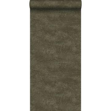 Tapete Naturstein mit Craquelé-Effekt Olivgrün