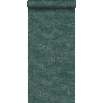 Tapete Naturstein mit Craquelé-Effekt Smaragdgrün