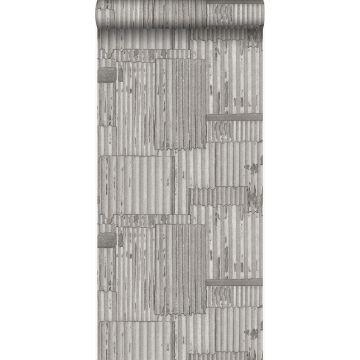 Tapete industrielle Wellplatten aus Metall 3D Hellgrau