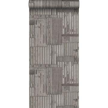 Tapete industrielle Wellplatten aus Metall 3D Dunkelgrau