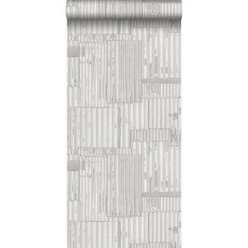Tapete industrielle Wellplatten aus Metall 3D Crême-Weiß