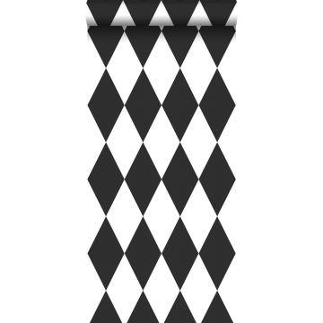 Tapete Karomuster Schwarz-Weiß