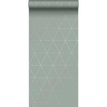 Tapete grafische Dreiecke Graugrün