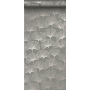 Tapete Ginkgoblätter Grau
