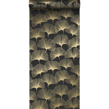 Tapete Ginkgoblätter Schwarz und Gold