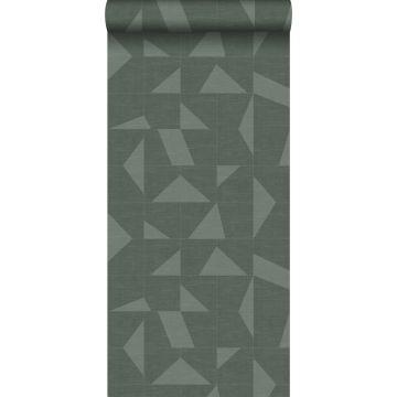 Tapete grafisches Muster in Gewebeoptik Grün