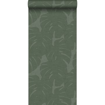Tapete Blätter in Leinen-Optik Grün