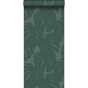 Tapete Blätter in Leinen-Optik Meeresgrün