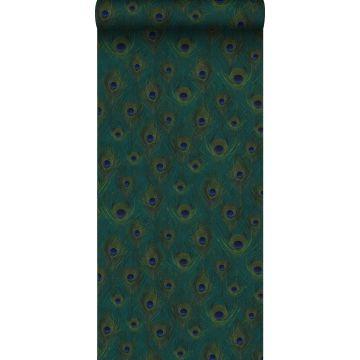 Eco Texture Vliestapete Pfauenfedern Meeresgrün