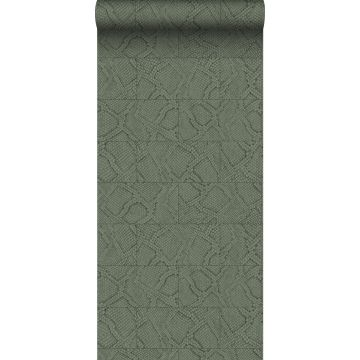 Tapete Fliesenmuster mit Schlangenhaut-Motiv Olivgrün