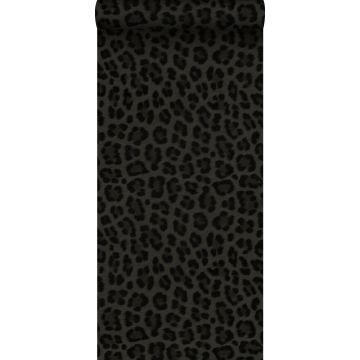 Tapete Leopardenmuster Dunkelgrau und Schwarz