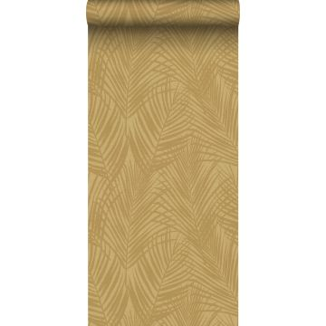 Tapete Palmblätter Ockergelb