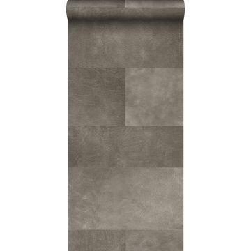 XXLVliestapete Fliesenmuster mit Lederoptik Grau